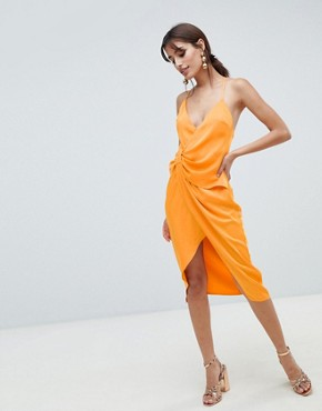 photo Strappy Knot Side Midi Dress in Satin by ASOS DESIGN, color Orange - Image 1