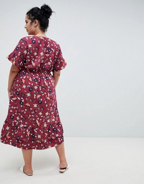 photo Ditsy Print Tea Dress by Junarose, color Rumba Red - Image 2