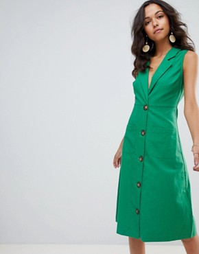 photo Button Down Emerald Midi Dress by Moon River, color Emerald - Image 1
