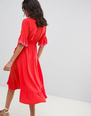 photo Frill Wrap Midi Dress by Moon River, color Tomato - Image 2