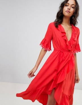 photo Frill Wrap Midi Dress by Moon River, color Tomato - Image 1