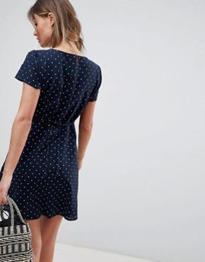 photo Polka Dot Dress with Knot Front by Abercrombie & Fitch, color Navy White Dot - Image 2