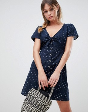 photo Polka Dot Dress with Knot Front by Abercrombie & Fitch, color Navy White Dot - Image 1
