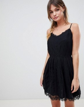 photo Mesh Dress with Strap Detail by Abercrombie & Fitch, color Black - Image 1