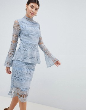 photo Lace Bell Sleeve Midi Dress by PrettyLittleThing, color Icy Blue - Image 1