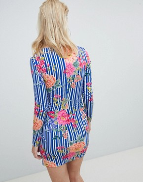 photo Twist Front Mini Dress in Multi Floral by Flounce London, color Multi Floral - Image 2