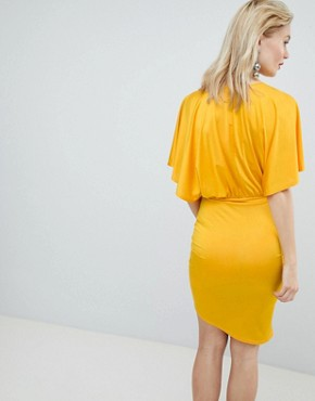 photo Drape Front Mini Dress by Flounce London, color Tangerine Orange - Image 2