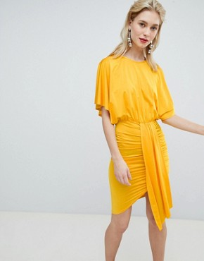 photo Drape Front Mini Dress by Flounce London, color Tangerine Orange - Image 1