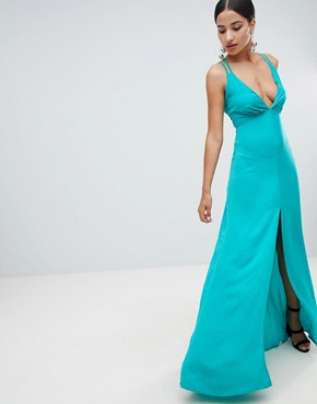 photo Plunge Front Maxi Dress with Strappy Back by Flounce London, color Green - Image 2