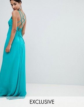 photo Plunge Front Maxi Dress with Strappy Back by Flounce London, color Green - Image 1