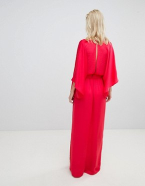 photo Wrap Front Kimono Maxi Dress with Thigh Split by Flounce London, color Bright Coral - Image 2