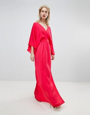 photo Wrap Front Kimono Maxi Dress with Thigh Split by Flounce London, color Bright Coral - Image 1