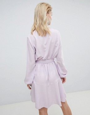 photo Wrap Front Mini Dress in Lilac by Flounce London, color Lilac - Image 2