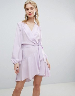 photo Wrap Front Mini Dress in Lilac by Flounce London, color Lilac - Image 1