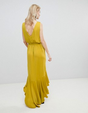 photo Wrap Front Satin Maxi Dress by Flounce London, color Yellow - Image 2