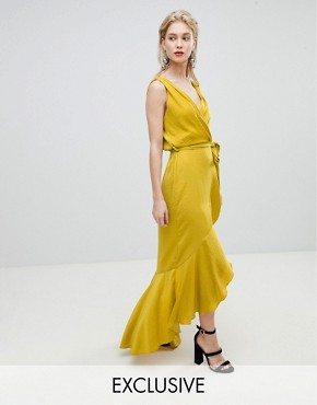 photo Wrap Front Satin Maxi Dress by Flounce London, color Yellow - Image 1
