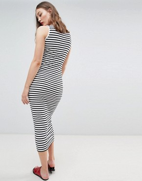 photo Stripe Maxi Dress by New Look Maternity, color Black Pattern - Image 2