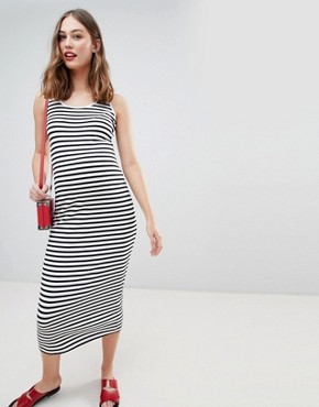 photo Stripe Maxi Dress by New Look Maternity, color Black Pattern - Image 1