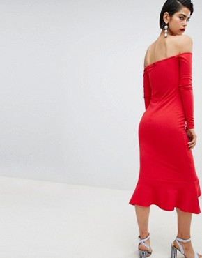 photo Bardot Fishtail Hem Dress by Missguided, color Red - Image 2