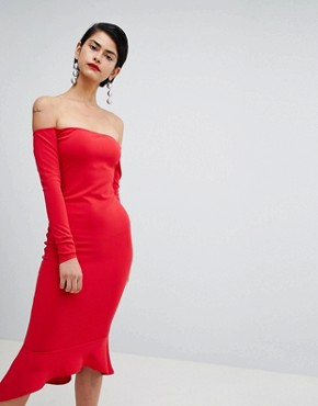 photo Bardot Fishtail Hem Dress by Missguided, color Red - Image 1