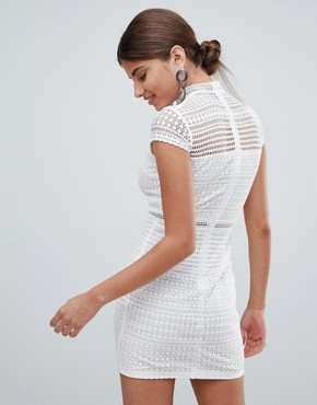 photo Lace High Neck Mini Dress by Missguided, color White - Image 2