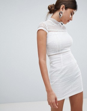 photo Lace High Neck Mini Dress by Missguided, color White - Image 1