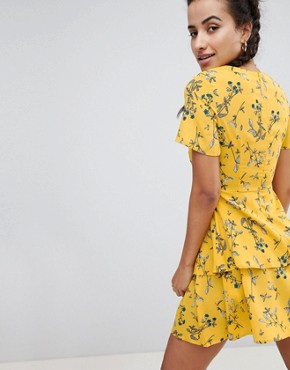 photo Floral Tiered Mini Dress by Missguided, color Yellow - Image 2
