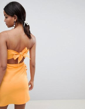 photo Wrap Front Bow Scuba Mini Dress by ASOS DESIGN, color Orange - Image 2