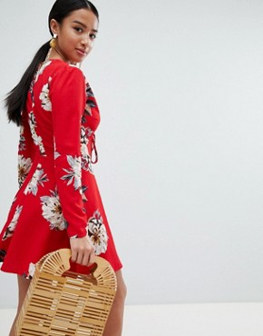 photo Floral Tie Front Dress by Missguided Petite, color Red - Image 2