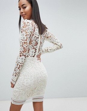 photo Lace Long Sleeve Bodycon Mini Dress by Missguided Tall, color Mint Green - Image 2