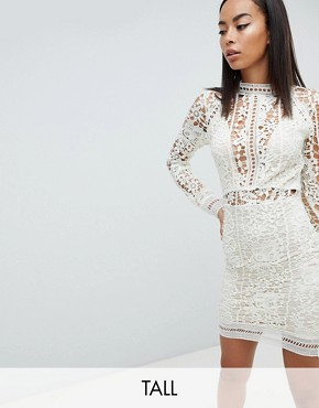 photo Lace Long Sleeve Bodycon Mini Dress by Missguided Tall, color Mint Green - Image 1