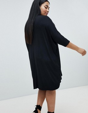 photo Oversized T-Shirt Dress by Missguided Plus, color Black - Image 2