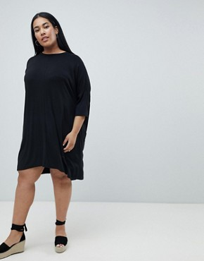photo Oversized T-Shirt Dress by Missguided Plus, color Black - Image 4