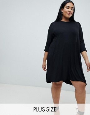 photo Oversized T-Shirt Dress by Missguided Plus, color Black - Image 1