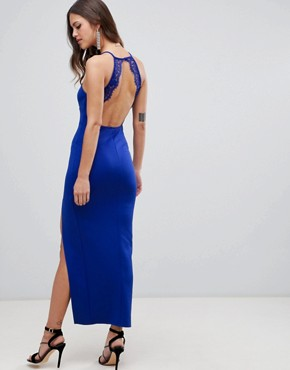 photo Scuba Maxi Dress with Lace Back Detail by ASOS DESIGN, color Cobalt Blue - Image 2