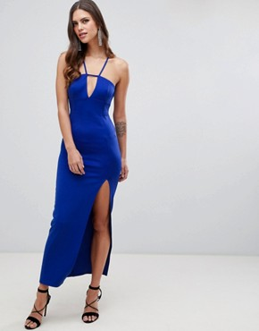 photo Scuba Maxi Dress with Lace Back Detail by ASOS DESIGN, color Cobalt Blue - Image 1