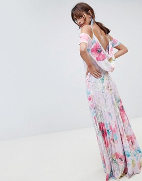 photo Floral Cold Shoulder Cowl Back Pleated Maxi Dress by ASOS DESIGN, color Multi - Image 2