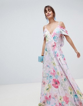 photo Floral Cold Shoulder Cowl Back Pleated Maxi Dress by ASOS DESIGN, color Multi - Image 1