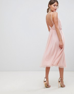photo Tulle Midi Dress with Applique Trim by ASOS DESIGN, color Nude - Image 2