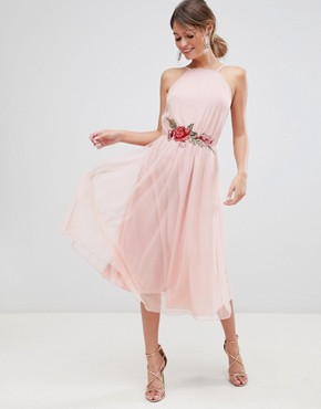 photo Tulle Midi Dress with Applique Trim by ASOS DESIGN, color Nude - Image 1