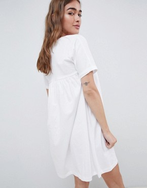photo Ultimate Cotton Smock Dress by ASOS DESIGN Petite, color White - Image 2