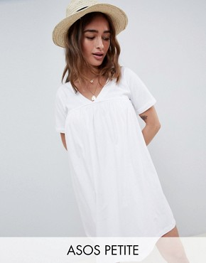 photo Ultimate Cotton Smock Dress by ASOS DESIGN Petite, color White - Image 1