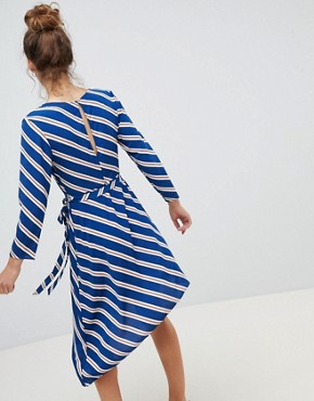 photo Wrap Asymmetric Stripe Midi Dress by New Look, color Blue Pattern - Image 2