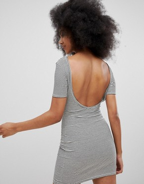 photo Ribbed Scoop Back Jersey Dress in Multi Stripe by Pull&Bear, color Multi - Image 2