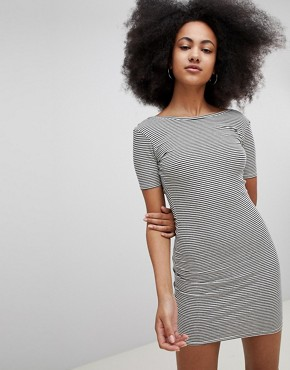 photo Ribbed Scoop Back Jersey Dress in Multi Stripe by Pull&Bear, color Multi - Image 1