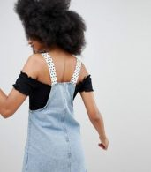 photo Dungaree Dress with Polka Dot Straps in Blue by Pull&Bear, color Blue - Image 2