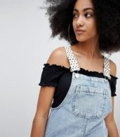photo Dungaree Dress with Polka Dot Straps in Blue by Pull&Bear, color Blue - Image 3