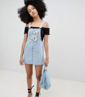 photo Dungaree Dress with Polka Dot Straps in Blue by Pull&Bear, color Blue - Image 4
