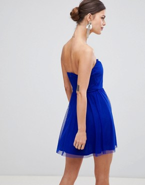 photo Dobby Bandeau Skater Mini Dress by ASOS DESIGN, color Electric Blue - Image 2