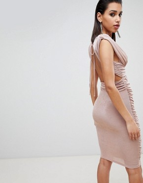 photo Slinky Super Ruched Low Back Midi Dress by ASOS DESIGN, color Nude - Image 2